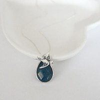 Silver Bird And Teal Drop Necklace