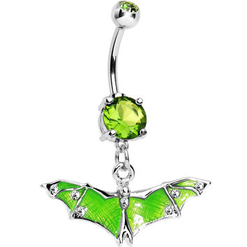 Green Gem Neon Flying Bat Dangle Belly Ring