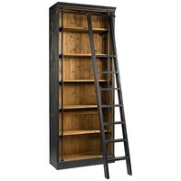 Ivy Black and Antique Bleached Sea Wood Bookcase and Ladder - #14K39 | Lamps Plus