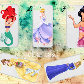 iphone case,ariel,cinderella,jasmine,belle,aurora clear case,iphone 5 case,iphone 4/4s case,accesories,cell phone,hard plastic.