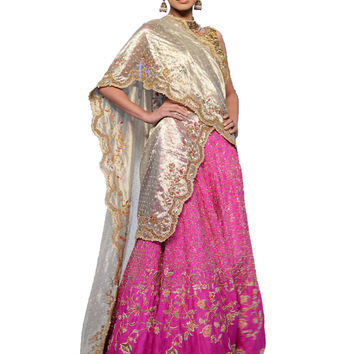 Exquisite Gold & Magenta Beaded Bridal Dress/With Veil