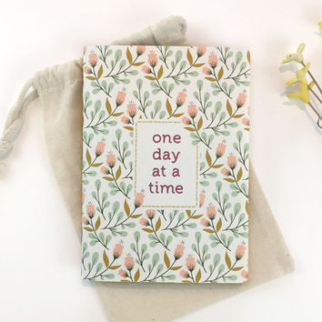 One Day At A Time Bullet journal Affirmation Mindfulness journal Mental health Recovery gift Writing journal Floral notebook Dot grid