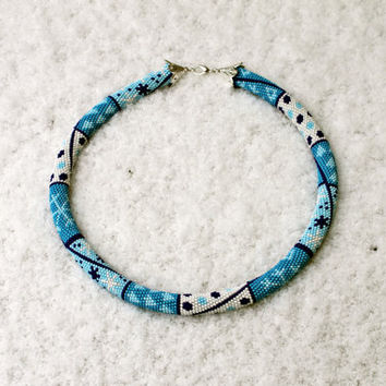 Winter satisfaction guaranteed, Beaded crochet rope necklace with white and blue color seed beads,Patchwork, Winter fashion, Christmas gift