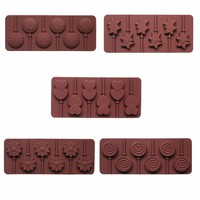 Silicone mold 6 lattices love lollipops DIY chocolate mold cake decorating molds with a plastic rod