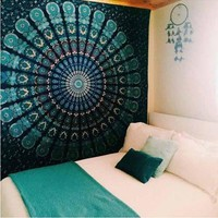 Cilected Green Peacock Inida Mandala Tapestry Home Decor Hanging Wall Boho Tapestry Polyester and Cotton Bed Linens Sofa Cover