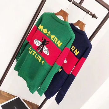"""Gucci"" Women Temperament Fashion Multicolor Stripe Letter Pattern Bee V-Neck Long Sleeve Knit Cardigan Sweater Coat"