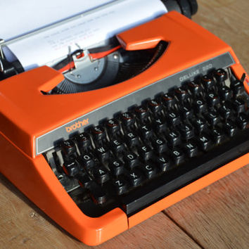 Vintage Typewriter - 1960's Bright ORANGE Brother Deluxe 220 - Working Perfectly