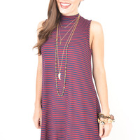 Maroon and Navy Striped Sleeveless Swing Dress with High Neckline