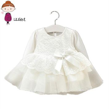 Newborn Baby Dress Girl Clothes Lace Long Sleeve Wedding Christening Gowns Dress for Infant New Year Girls Dresses