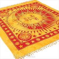 EYES OF INDIA - QUEEN YELLOW INDIAN HIPPIE MANDALA SUN and MOON TAPESTRY WALL HANGING Picnic Boh