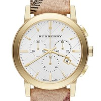 Burberry Round Chronograph Leather Strap Watch, 38mm