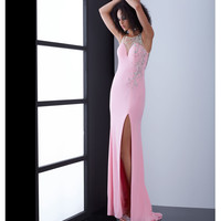 Pink Sheer Illusion Low Back Intricate Beading Dress