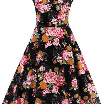 Atomic Vintage Black Floral Print Flared Swing Dress