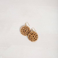 Sienna Round Straw Earrings