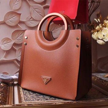 ONETOW Prada Women Fashion Leather Satchel Shoulder Bag Handbag Crossbody
