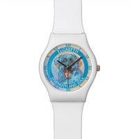 Abstract Blue Orange Labrador Retriever Wrist Watches