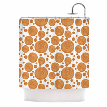 "Alisa Drukman ""Gold Pattern"" Orange Geometric Shower Curtain"