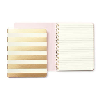 Gold Stripe - Concealed Spiral Notebook - Kate Spade