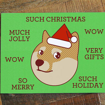 "Christmas Card Doge ""Such Christmas"" - Funny Christmas, Cute Card, Shiba Inu, Shibe Doge Holiday Card, Cute Dog Card, Animal Card, Geek Nerd"