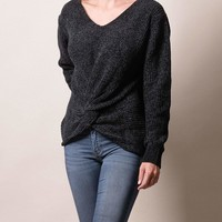 Twist Front Chenille Sweater - Black