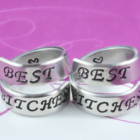 [♡007] BEST BITCHES - Hand Stamped Spiral Rings Set, Sisters Rings