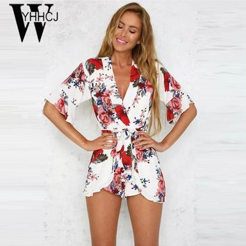 WYHHCJ 2017 Strapless v-neck bodysuit women elegant flowers rompers womens jumpsuit combinaison femme One Piece beach playsuit
