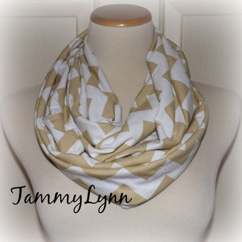 NEW Tan Khaki on White Chevron Infinity Scarf Spring Lightweight Jersey Knit Soft Double Loop Scarf Women's Accessories