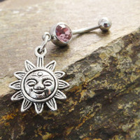 Belly Button Jewelry Ring Celestial Sun You Choose Crystal Color