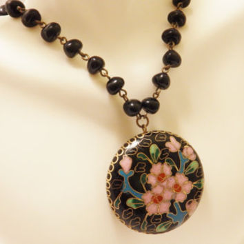 Miriam Haskell Large Round Cloisonne Pendant Necklace