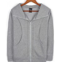 Grey Cotton Women Hoddies High Neck Top@Y195