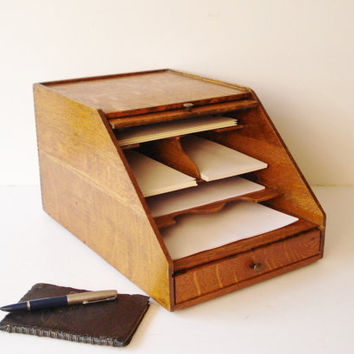 Antique Desk Stationery Organizer, Weis Letter Sorter Organizer, Office Paper Letter Envelope Sorter
