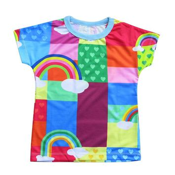 Rainbow patches - Girl rinbow T shirt