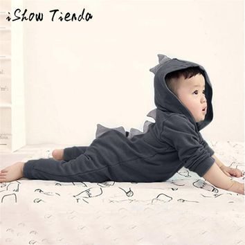 Clothes Long Sleeve Autumn Cotton Baby Girls Boys Infant Toddler Kids Dinosaur Hoodie Zip Jumpsuit