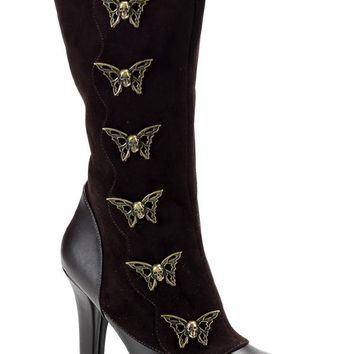 Pleaser Female Steampunk Calf Boot With Steam Skull Butterfly Buttons TES107