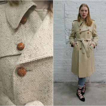 vintage 70s cream wool coat / Oleg Cassini tweed wool trench coat / designer coat