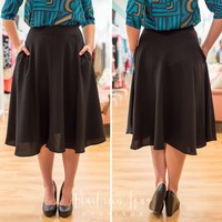 Black Midi Pocket Skirt