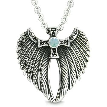 Angel Wings Celtic Viking Cross Magic Powers Amulet Green Quartz Pendant 22 inch Necklace
