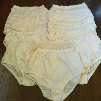 Vintage Granny Panties Lot of 13 Secret Treasures Semi Sheer Nylon Signature Waistband size 6