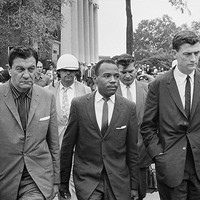 James Meredith First African American Student at University of Mississippi with US Marshals 1962 Art Print