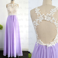 Lavender Long Lace Prom Dresses, Chiffon Long Formal Gown With Open Back, Lilac Wedding Party Dresses