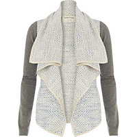 Blue boucle contrast sleeve waterfall jacket