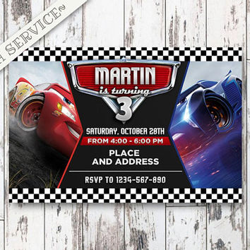 Cars 3 Chalkboard Birthday Invitation, Cars 3 Birthday, Cars 3 Invitation,Cars 3 Birthday Invitation, Cars 3