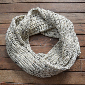 MADE TO ORDER Neutral Knit Scarf, Infinity Scarf, Oatmeal Knitted Scarf, Hand-Knit Scarf, Tan Circle Scarf, Tan Knit Snood, Knit Cowl