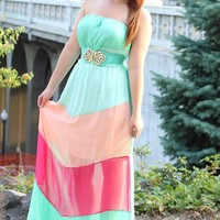 Monterey Mint Medley Chevron Plus Size Maxi Dress