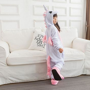 Pink Unicorn pajamas Kids Onesuit Children Unicorn Costumes Pajama Party Boys Girls Animals Cosplay Kigurumi Loose Warm Sleepwear