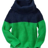 Colorblock cowlneck sweater