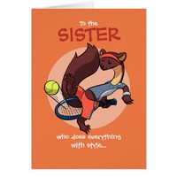 Everything Done with Style Tennis Marten Cartoon Greeting Card