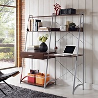 Altra Ladder Desk with Tower Bookcase - Walnut | www.hayneedle.com
