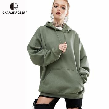 Women Hoodies Casual Bating Sleeve Hooded Sweatshirt Plus Size Loose Boyfriend Style Women Fashion High Quality