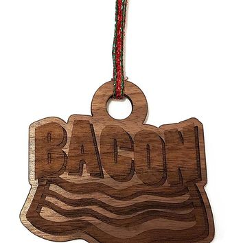 Bacon Laser Engraved Dark Wooden Christmas Tree Ornament Gift Seasonal Decoration